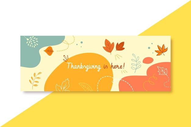 Portada de facebook de acción de gracias con hojas