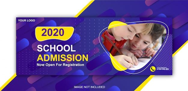 Portada de facebook de admisión escolar y banner de plantilla web