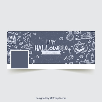 Portada de facebook con bocetos de halloween