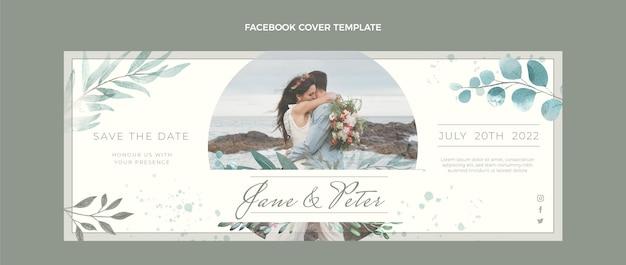 Portada de facebook de boda dibujada a mano en acuarela