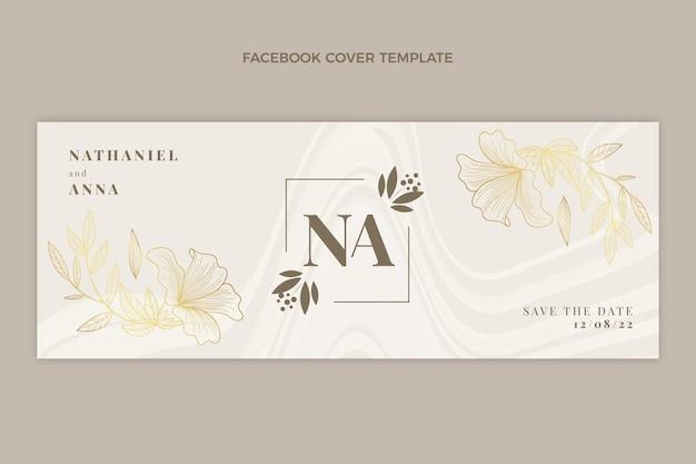 Portada de facebook de boda dorada de lujo realista