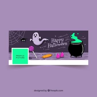 Portada de facebook con caldero y elementos de halloween