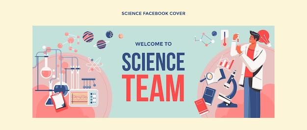 Portada de facebook de ciencia de diseño plano