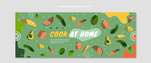 Portada de facebook de comida dibujada a mano