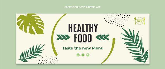 Portada de facebook de comida de diseño plano
