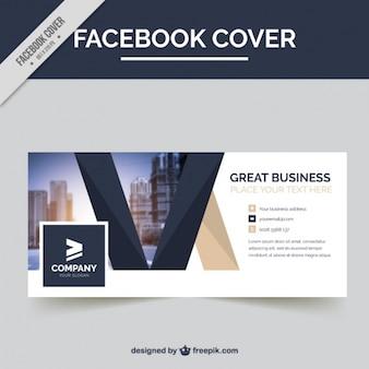 Portada de facebook corporativa con formas geométricas