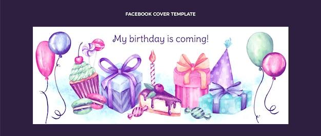 Portada de facebook de cumpleaños dibujada a mano en acuarela
