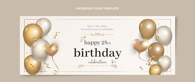 Portada de facebook de cumpleaños dorado de lujo realista