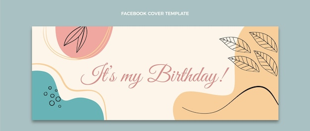 Portada de facebook de cumpleaños minimalista plana