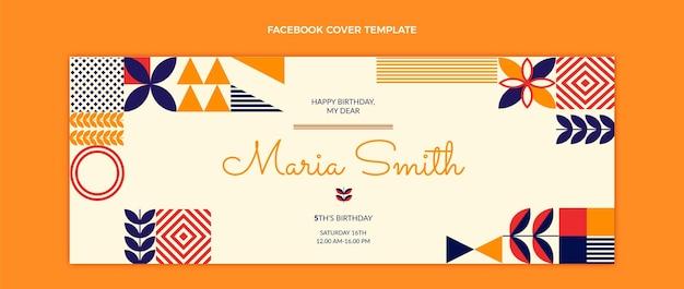 Portada de facebook de cumpleaños de mosaico plano