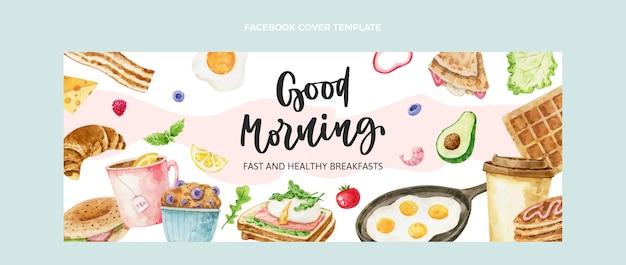 Portada de facebook de desayuno de acuarela