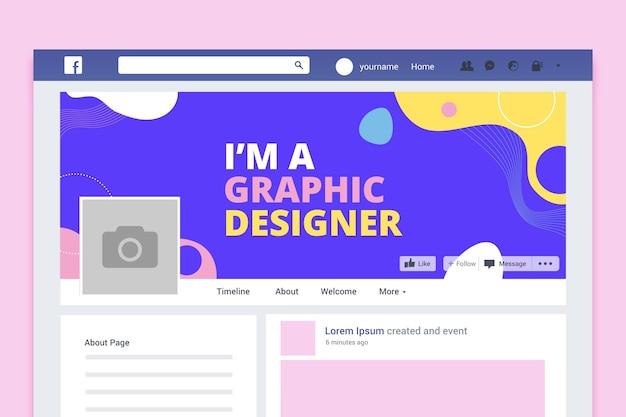 Portada de facebook de diseño colorido abstracto