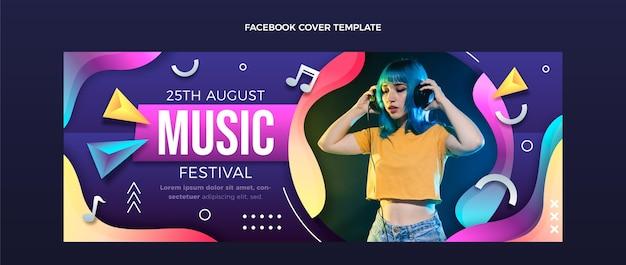 Portada de facebook del festival de música colorido degradado vector gratuito