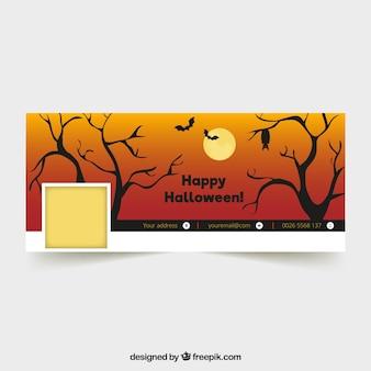 Portada de facebook de halloween con árboles y murciélagos