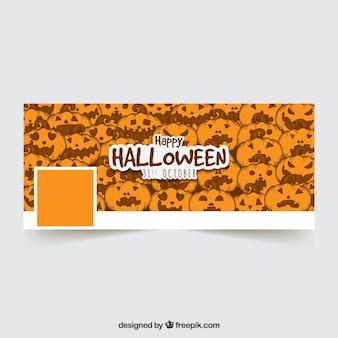 Portada de facebook de halloween con calabazas dibujadas a mano