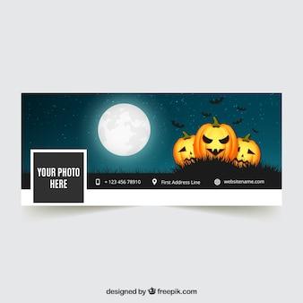 Portada de facebook de halloween con calabazas