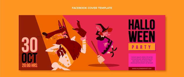 Portada de facebook de halloween de diseño plano