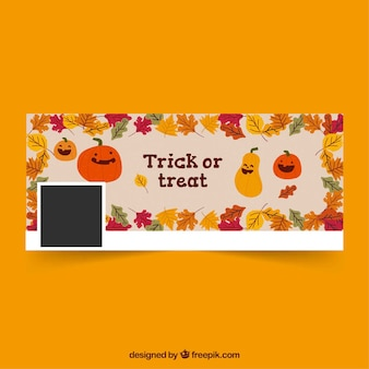 Portada de facebook de halloween con simpáticas calabazas