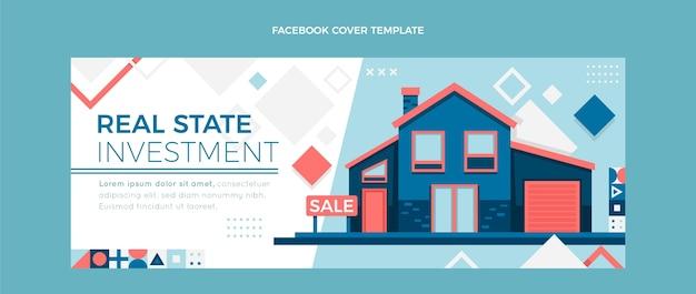 Portada de facebook de inmobiliaria geométrica abstracta plana