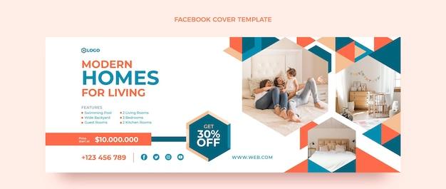 Portada de facebook de inmobiliaria geométrica de diseño plano