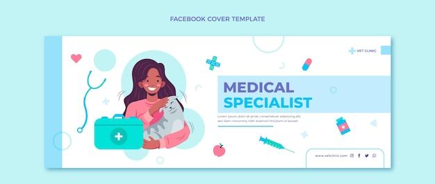 Portada de facebook médica de diseño plano