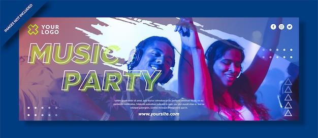 Portada de facebook de music party y publicación en redes sociales
