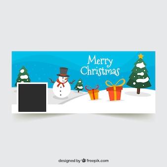 Portada de facebook de navidad con muñeco de nieve