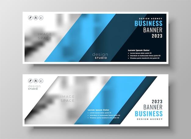 Portada de facebook de negocios profesional azul moderno o conjunto de encabezado de dos