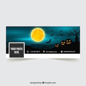 Portada de facebook con paisaje de halloween con calabazas