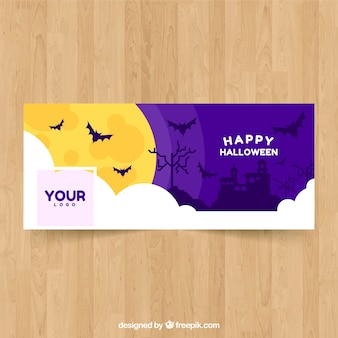 Portada de facebook con paisaje de halloween y murciélagos