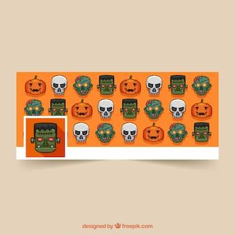 Portada de facebook con personajes de halloween