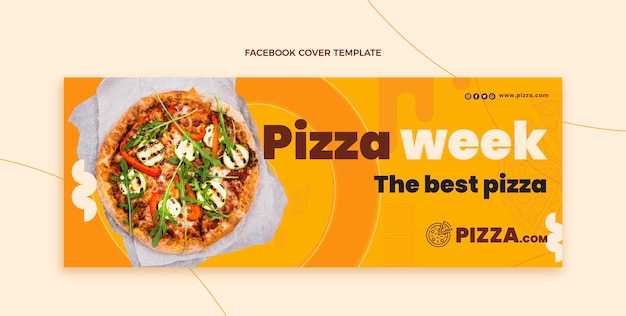 Portada de facebook de pizza estilo plano