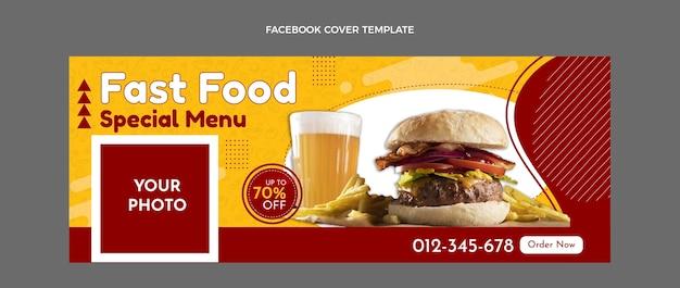 Portada de facebook plana de comida rápida