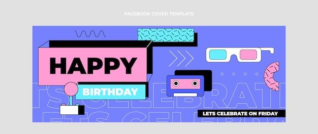 Portada de facebook plana de cumpleaños nostálgico de los 90