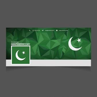 Portada de facebook poligonal del día de independencia de pakistán