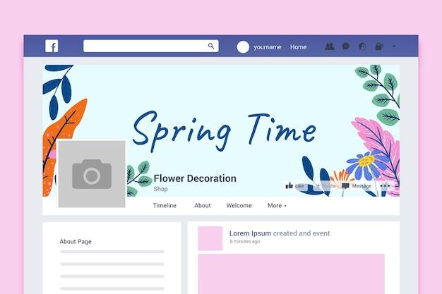 Portada de facebook de primavera colorida floral