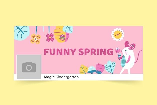 Portada de facebook de primavera floral infantil