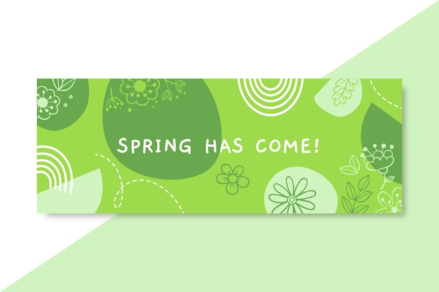 Portada de facebook de primavera monocromática doodle