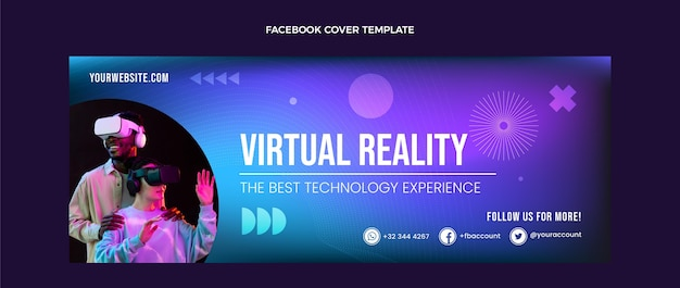 Portada de facebook de tecnología fluida abstracta degradada