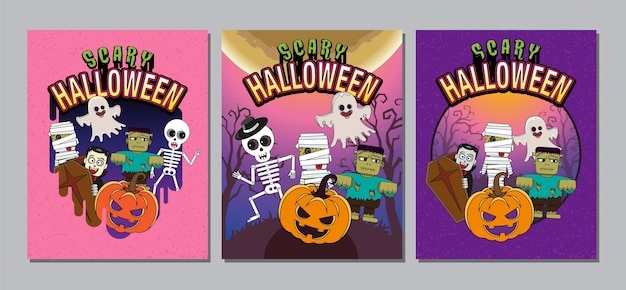 Portada de halloween, banner, fantasma, aterrador, espeluznante, personaje de dibujos animados.