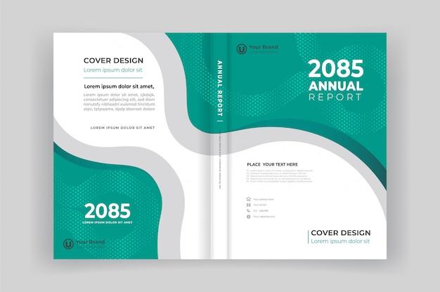 Portada del libro y contraportada para el informe anual con diseño de formas geométricas