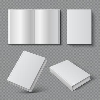 Portada de libro realista. cubierta de folleto en blanco, superficie de bolsillo en blanco, catálogo de revista de libros de texto vacío. conjunto 3d