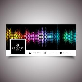 Portada de la línea de tiempo de las redes sociales con diseño de ondas sonoras