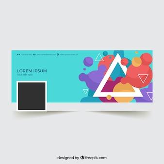 Portada moderna de facebook co triángulos y formas abstractas