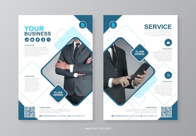 Portada de negocios corporativos y plantilla de diseño de flyer a4 de página posterior