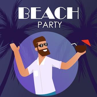 Portada de publicidad de fiesta en la playa con hombre sonriente