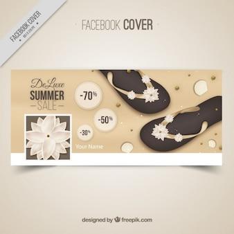 Portada de redes sociales con chanclas florales