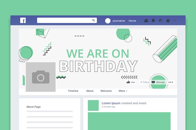 Portada de redes sociales de cumpleaños minimalista geométrica.