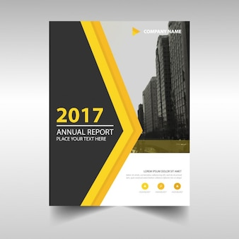 Portada de reportaje anual 2017 abstracto con detalle amarillo