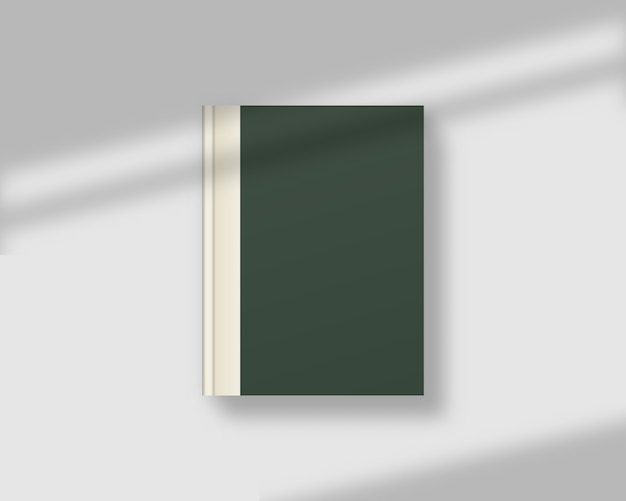 Portada de revista o libro en blanco con superposición de sombras. libro cerrado realista. . modelo . ilustración realista